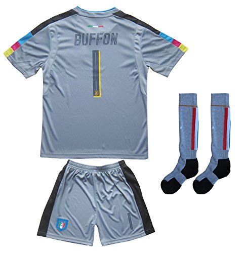 Fcw 2018 Italy Home  1 Gianluigi Buffon Football Futbol Soccer Kids Goalkeeper Jersey Shorts Socks Set Youth Sizes  Gray  6 7 Years