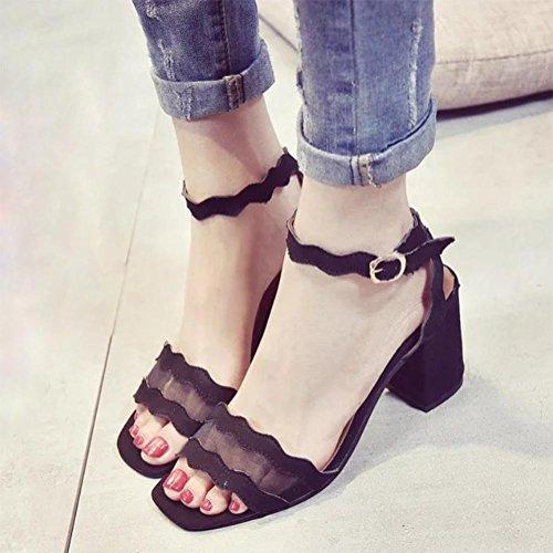 Sommer Fischkopf Wort Schnalle Schuhe mit dicken Absätzen offener Spitze Sandalen Black