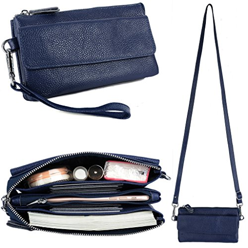 YALUXE Women's Leather Smartphone Wristlet Crossbody Clutch with RFID Blocking Card Slots Blue by YALUXE