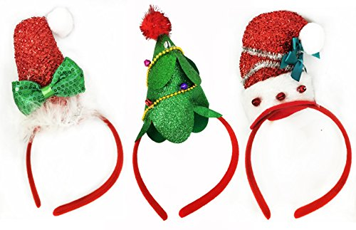 Charmed Pack of 3 Christmas Headbands with 3 Designs for Christmas and Holiday santa hat and christmas tree (Tree Hat Santa Christmas)