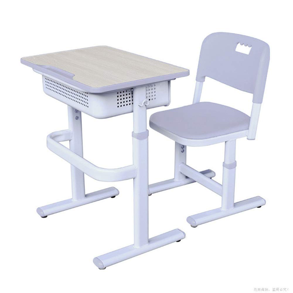 DERTHWER Kids' Desk & Chair Sets Kids White Study Desk Chair Set Tiltable Table and Chair Set Work Station Perfect for Kids' Rooms Or Study Areas (Color : White, Size : Free Size) by DERTHWER