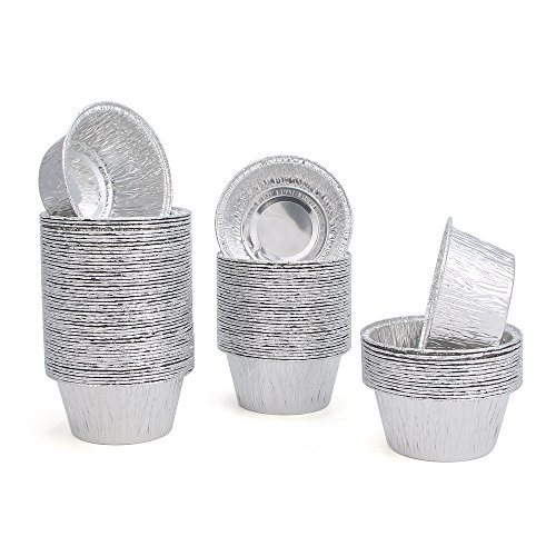 FredPack 100Pcs Aluminum Foil Ramekins Cupcake Liners Disposable Baking Cups Tin Foil Pans Cups (Pack Of 100) by fred life (Image #2)