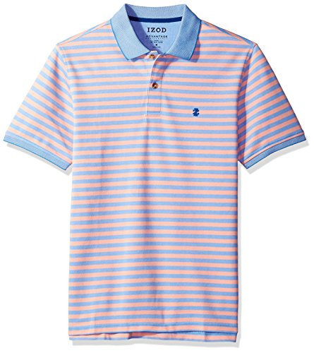 IZOD Men's Advantage Performance Stripe Polo, Orange, Medium Slim