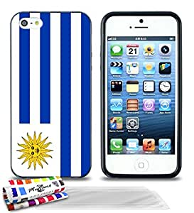 """Carcasa Flexible Ultra-Slim APPLE IPHONE 5 de exclusivo motivo [Bandera Uruguay] [Negra] de MUZZANO  + 3 Pelliculas de Pantalla """"UltraClear"""" + ESTILETE y PAÑO MUZZANO REGALADOS - La Protección Antigolpes ULTIMA, ELEGANTE Y DURADERA para su APPLE IPHONE 5"""