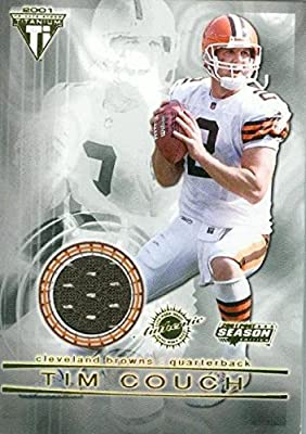 Tim Couch player worn jersey patch football card (Cleveland Browns) 2002 Pacific Titanium #32
