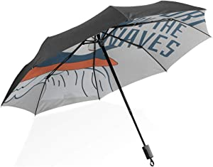 Hiking Umbrella Surfer Shark With Surfboard Portable Compact Folding Umbrella Anti Uv Protection Windproof Outdoor Travel Women Travell Umbrella