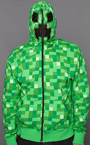 [Zip Hoodie: Minecraft Creeper Size XL] (Adult Minecraft Costumes)
