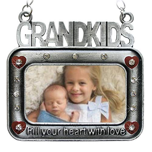 - BANBERRY DESIGNS Grandkids Ornament - Picture Frame Ornament Embossed with Grand Kids Fill Your Heart with Love - Grandparents Gift- Grandma
