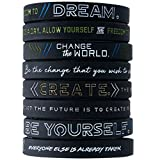 (12-Pack) Be Yourself, Change The World, Create, Dream - Inspirational Silicone Bracelet Wristbands Wholesale Bulk Lot Bundle - Unisex Gifts for Teens Men Women Adults