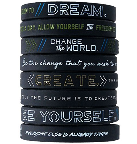 (12-Pack) Be Yourself, Change The World, Create, Dream - Inspirational Silicone Bracelet Wristbands Wholesale Bulk Lot Bundle - Unisex Gifts for Teens Men Women Adults ()