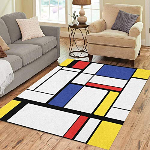 Pinbeam Area Rug Blue Pattern Abstract Modern Painting in Mondrian Colorful Home Decor Floor Rug 5' x 7' Carpet
