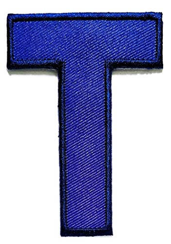Letter T Blue Patch Alphabet Letters A to Z Cartoon Embroidery Embroidered Sew On Patch ABC Patch Sewing Badge Sign Logo Jackets Bags Hat Jeans T-Shirt Backpacks Costume ()