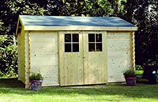 Alpholz DINANT - Caseta de jardín de madera de abeto con tela asfáltica natural sin tratamiento de color (360 x 300 cm): Amazon.es: Jardín