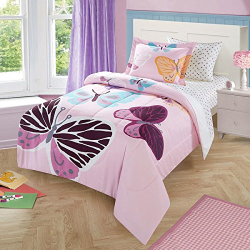 Twin Comforter Set for Girls Butterfly Comforter and Pillow Sham 2 Pieces Children Bedding Set -