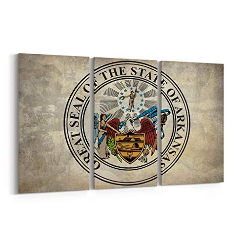 Arkansas State Seal Canvas Print Arkansas State Seal Canvas Art Arkansas State Seal Wall Art Canvas Multiple Sizes Gallery Wrapped Canvas on Pine Wooden - Arkansas State Seal