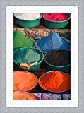 Selling Holy Color Powder at the Market, Puri, Orissa, India by Keren Su / Danita Delimont Framed Art Print Wall Picture, Flat Silver Frame, 27 x 36 inches
