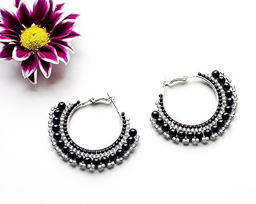 Handmade Black Agate Hoop Earrings Sterling Silver Plated Delicate Boho Bohemian Gypsy Style Jewelry Gift Idea for Woman Gemstone Beadwork Earrings Hand made Nickel free Trending now Earrings