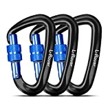 L-Rover The Best Ultra Sturdy Locking Carabiner Clips, Heavy Duty Caribeaners, x3/12kN/2645-pound Rating for Hammocks, Swing,Locking Dog Leash and Harness, Camping, Key Chains,Hiking & Utility