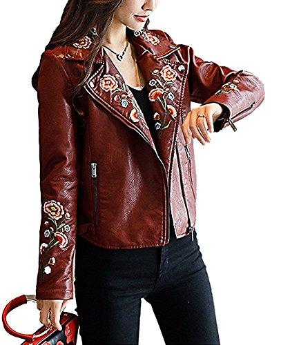 Vin De Brodé Jacket Rouge Motifs Zippé Manteau Vêtements Femmes Revers Coat Tomwell Outwear Veste A Motard Courts Manches Longues 5wqT5XC