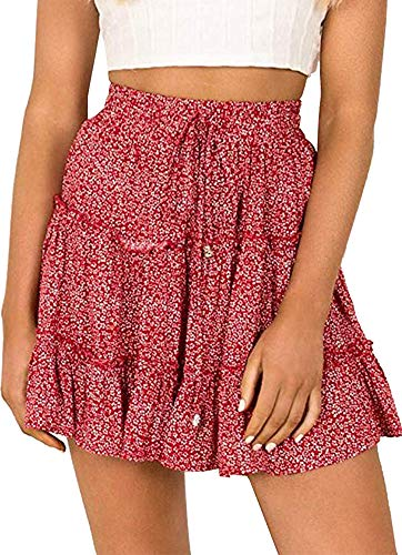 Amy Babe Women's Floral Print Ruffle Mini Skirt High Waist A line Skirts with Drawstring Red