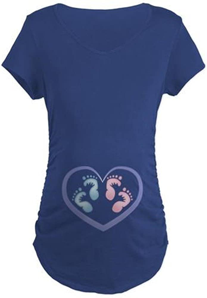 CafePress Boy//Girl Twins Footprints Maternity Tee