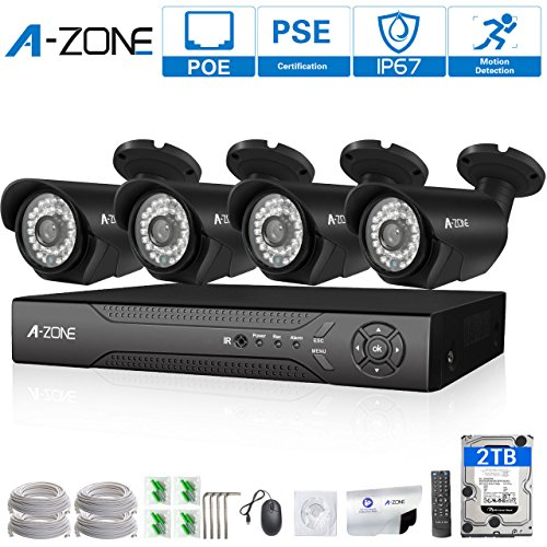 A-ZONE 720P 4CH NVR Kit Network POE Security Camera System CCTV Video Surveillance Kits,98ft IR Distance Night Vision IP camera,2TB HDD