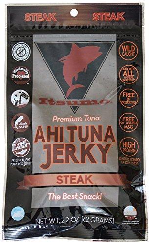 Itsumo Wild Ahi Tuna Fish Jerky Steak Flavor - Premium Sashimi Grade Yellowfin Tuna Fish - Healthy & All Natural Ingredients - Paleo & Gluten Free Protein Snack