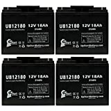 4-Pack UB12180 Universal Sealed Lead Acid Battery (12V, 18Ah, T4 Terminal, AGM, SLA) Replacement - Compatible With APC SMART UPS 1500, SMART-UPS 3000, RBC7, SMART-UPS 1400, SUA1500, RBC43, 1000XL