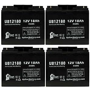 4x Pack - UNIVERSAL POWER GROUP C6229 Battery - Replacement UB12180 Universal Sealed Lead Acid Battery (12V, 18Ah, 18000mAh, T4 Terminal, AGM, SLA)