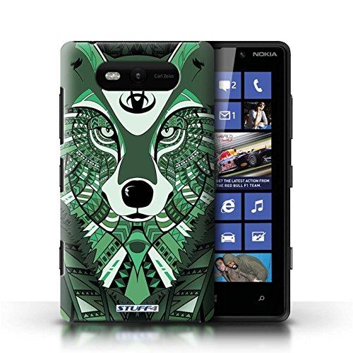 Etui / Coque pour Nokia Lumia 820 / Loup-Vert conception / Collection de Motif Animaux Aztec