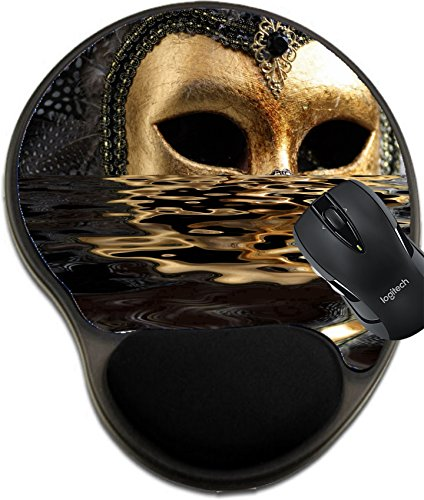MSD Natural Rubber Mousepad wrist protected Mouse Pads/Mat with wrist support design: 867077 Venetian mask decorated with gold leaf and embedded with fowl feathers with reflection on water