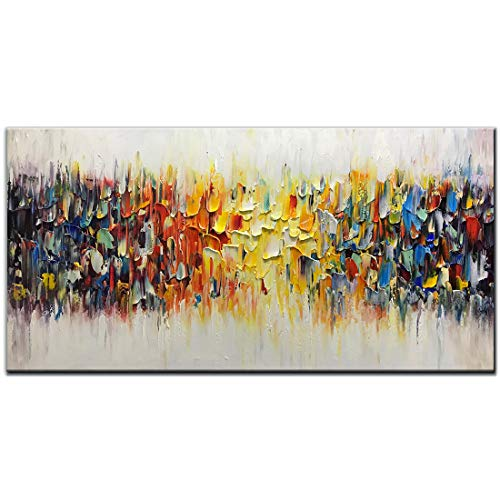 Amei Art Paintings,24x48inch 3D Hand-Painted On Canvas Abstract Colorful Melody Oil Painting Contemporary Artwork Modern Home Decor Wall Art Wood Inside Framed Ready to Hang for Living Room