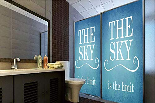 Horrisophie dodo 3D Privacy Window Film No Glue,Quotes Decor,The Sky is The Limit Typography Motivational Quote Simple Design Illustration,Blue White,70.86