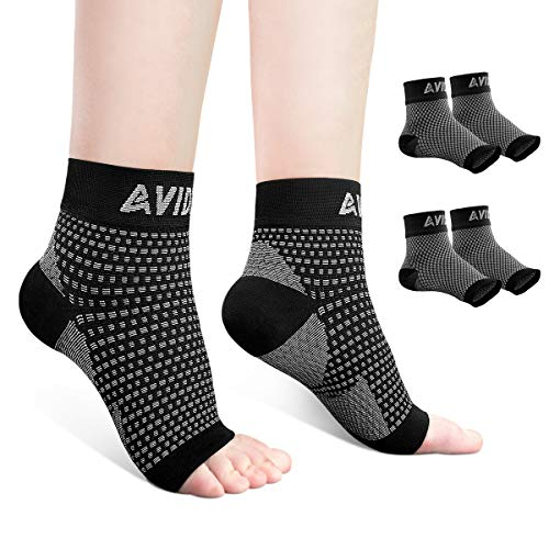 AVIDDA Ankle Brace for Men Women 2 Pairs Plantar Fasciitis Socks with Arch Support Open Toe Compression Foot Sleeve for Achilles Tendon Support Sprained Ankle Swelling Flat Feet Black S