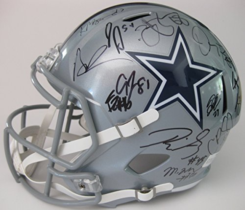 2017 Dallas Cowboys, Team, Signed, Autographed, Full Size Speed Football Helmet, a COA with the Proof Photos of the Cowboys Players Signing the Helmet Will Be (Dallas Cowboys Autographed Pro Football)
