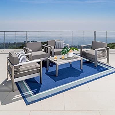 Christopher Knight Home Crested Bay Patio Furniture ~ 5 Piece Outdoor Aluminum Conversation (Chat) Seating Set - ALUMINUM CONSTRUCTION ~ Durable Outdoor Aluminum, Rust Resistant Built to Last for Years to Come ENJOY LIFE! ~ Spending Time Outside on Your Backyard Patio is One of Life's True Pleasures, Sitting Quietly Reading a Book, or Enjoying the Company of Family and Friends, Your New Outdoor Conversation Set Will Fast Become a Favorite Place to Sit. Includes: Four (4) Outdoor Aluminum Patio Chairs and One (1) Outdoor Aluminum Coffee Table - patio-furniture, patio, conversation-sets - 51igXppGc8L. SS400  -