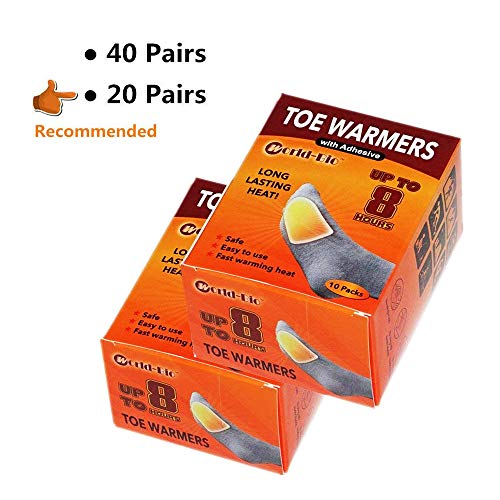 WORLD-BIO Disposable Toe Warmers Heating Pads Adhesive Thin Mini Patch Keep Warm in Chill Winter as Snow Mobile Trip, Dog Walking, Snowboards - 20 Pairs