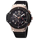 Voeons Men's Watches Chronograph 24 Hr Indicator Military Sports Watches 3ATM Waterproof Luxury Gold Case Quartz Big Dial Silicone Watches