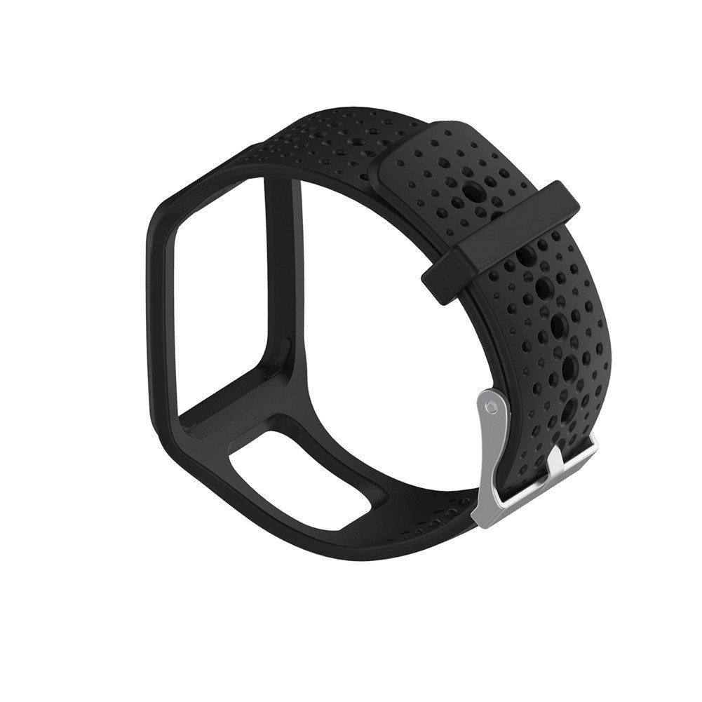 交換用シリコン時計バンドストラップfor TomTom multi-sport / Cardio GPS Watch TomTom Runner and More  ブラック B071K63W7Z