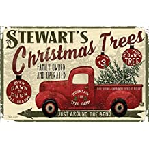 Personalized Family Name Red Truck Christmas Decor Poster - 11x17 - Sawyer's Mill Inc