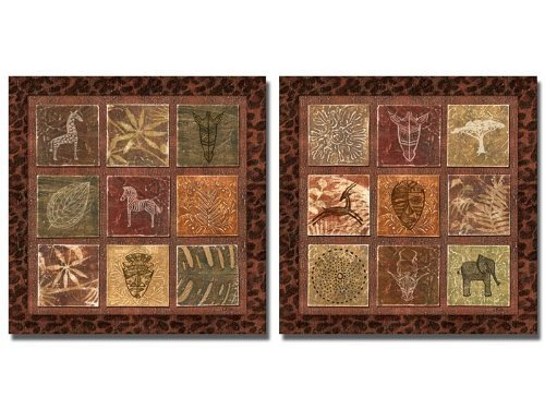 wallsthatspeak 2 African Animal Tribal Collage Art Prints Cave Painting Africa Posters, 12 by 12-Inch ()