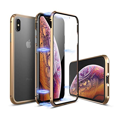 iPhone Xs Max Case,Updated Version[Included Front Glass Cover] Ultra Thin Slim Magnet Protective Case Tempered Glass[Support Wireless Charging] for Apple iPhone Xs Max (Gold with Glass Screen)