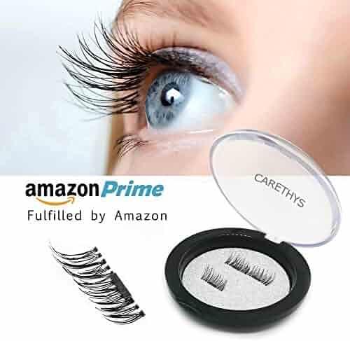 CARETHYS False Magnetic Eyelashes 3D Reusable Fake Eyelashes , 2 Pairs 4 Pieces, Ultra Thin, Natural Look