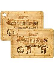 DuneDesign 2x massieve snijplank met sapgoot 33x23cm - 20mm dikke bio bamboe houten biefstuk plank