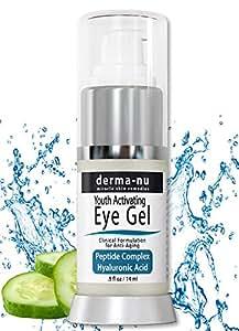 Anti Aging & Wrinkle Eye Cream – Moisturizing Gel for Dark Circles Under the Eyes & Puffiness – Hyaluronic Acid Formula Infused Serum with Aloe Vera & Jojoba for Ageless Smooth Skin – .5oz
