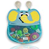 """""""Victor the Elephant"""" Bath Caddy by GSAKids Child's Cute Blue Pachyderm Tub Toy Organizer Pouch Plus 2 Strong-Hooked Suction Cups Durable, Mold Resistant, Washable Mesh Bath Toy Storage Holder"""
