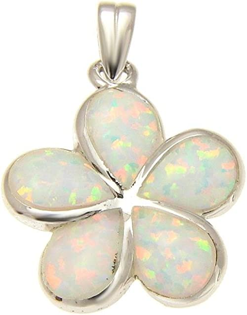 Dangling Plumeria Star Pendant White Simulated Opal .925 Sterling Silver Charm