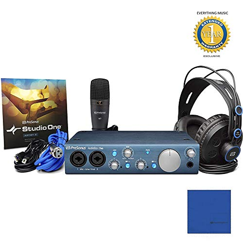 Presonus AudioBox iTwo Studio Complete Mobile Hardware/Software Recording Kit with Microfiber and 1 Year Everything Music Extended Warranty