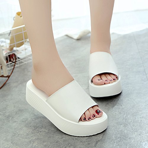 Para Slope Leatherette Awxjx Heel Mujer Chanclas Wear Blanco Verano Thick Light High Bottom Waterproof Outer 5qII8wTn