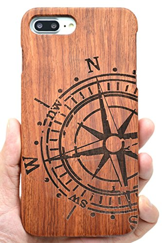 VolksRose iPhone 8 Wooden Case - Rosewood Compass - Premium Quality Natural Wooden Case for Your Smartphone and Tablet ()